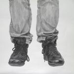 'Syrer' (Zustand/Detail) / Bleistift auf Papier / 100 x 200 cm / 2014